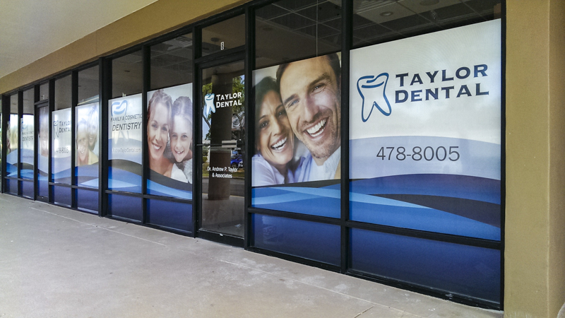 Window graphics for Taylor Dental office - Signgeek Environmental Graphics