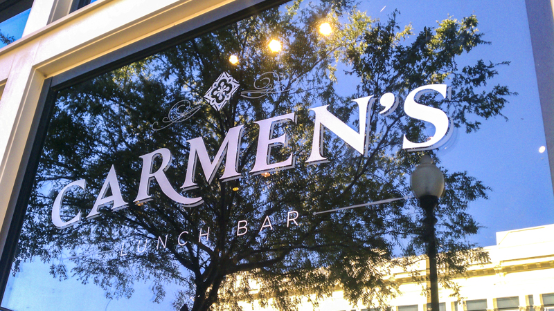 Window letters for Carmen's Lunch Bar - Signgeek Environmental Graphics