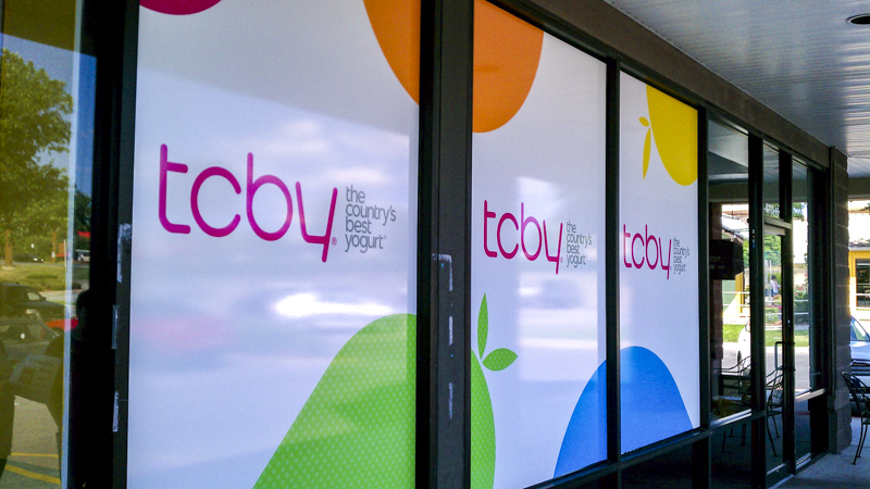 Opaque window graphics for TCBY - signgeek Environmental Graphics