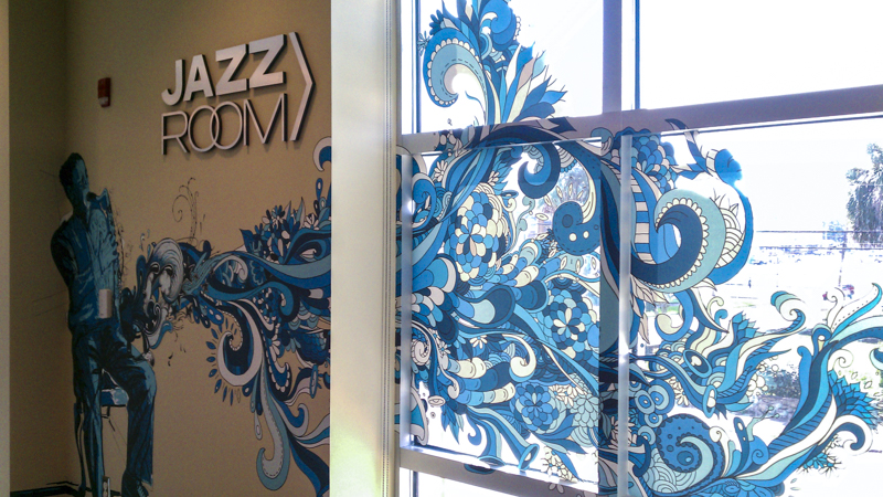Combination wall and window graphics for the Jazz Room - Signgeek Environmental Graphics