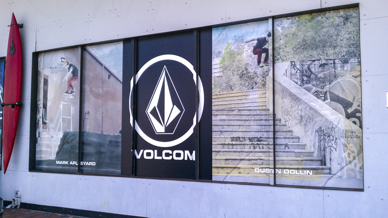 Exterior Volcom window graphics for Waterboyz Surf & Skate Shop - signgeek Environmental Graphics