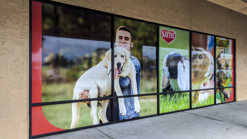 Window graphics for the exterior of Petland. Printed and installed by Signgeek.