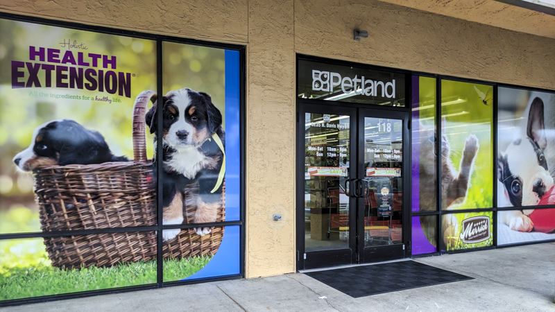 Window graphics for the exterior of Petland - signgeek Environmental Graphics