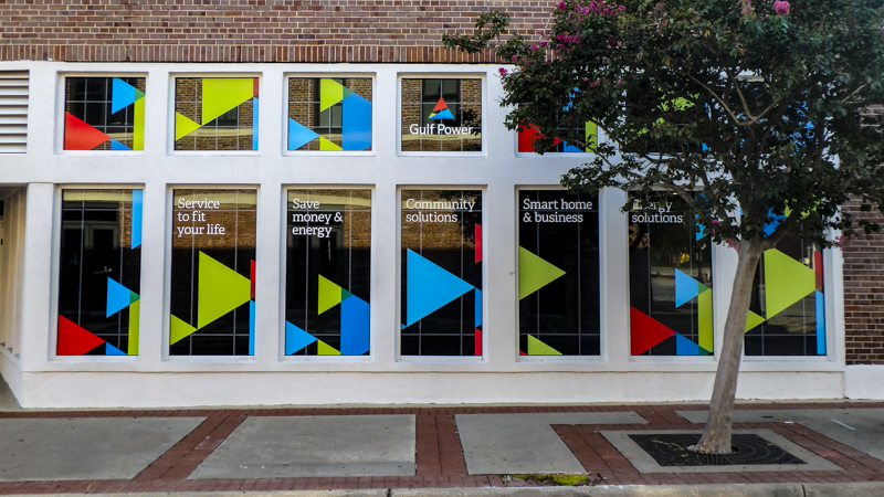 Window graphics for Gulf Power in Downtown Pensacola - Signgeek Environmental Graphics