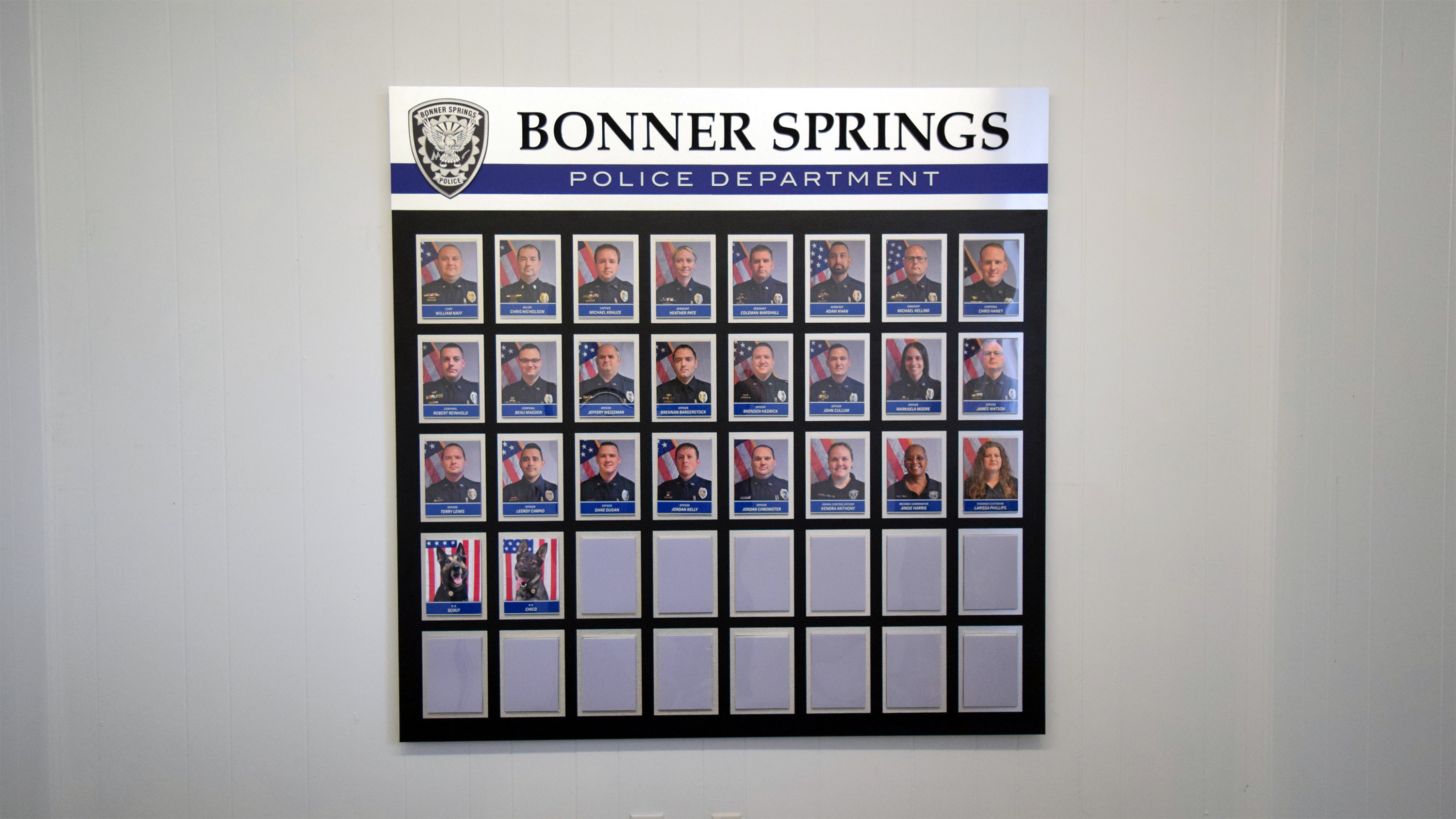 Employee recognition wall for Bonner Springs Police Department