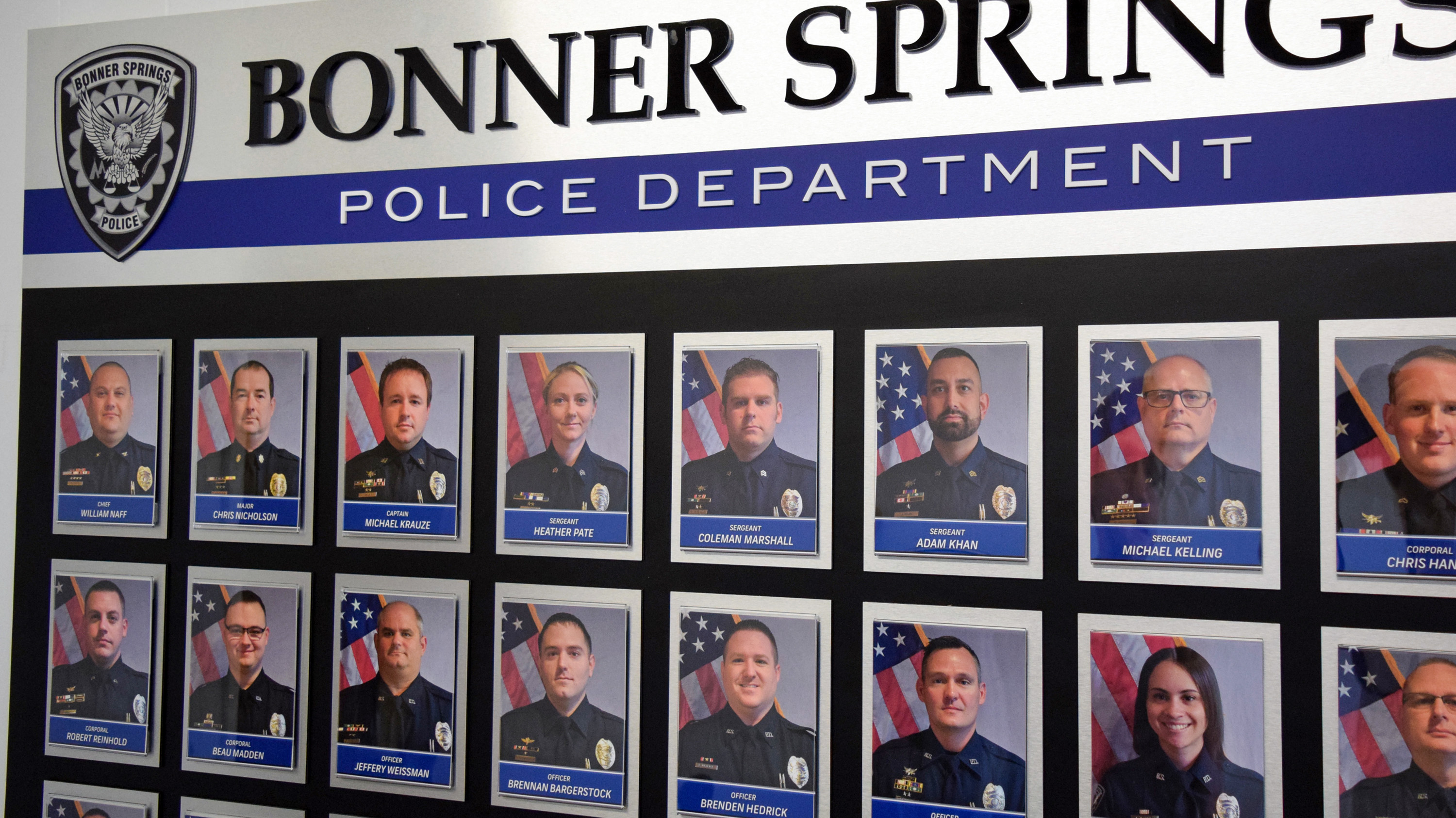 Employee photo wall for Bonner Springs Police Department