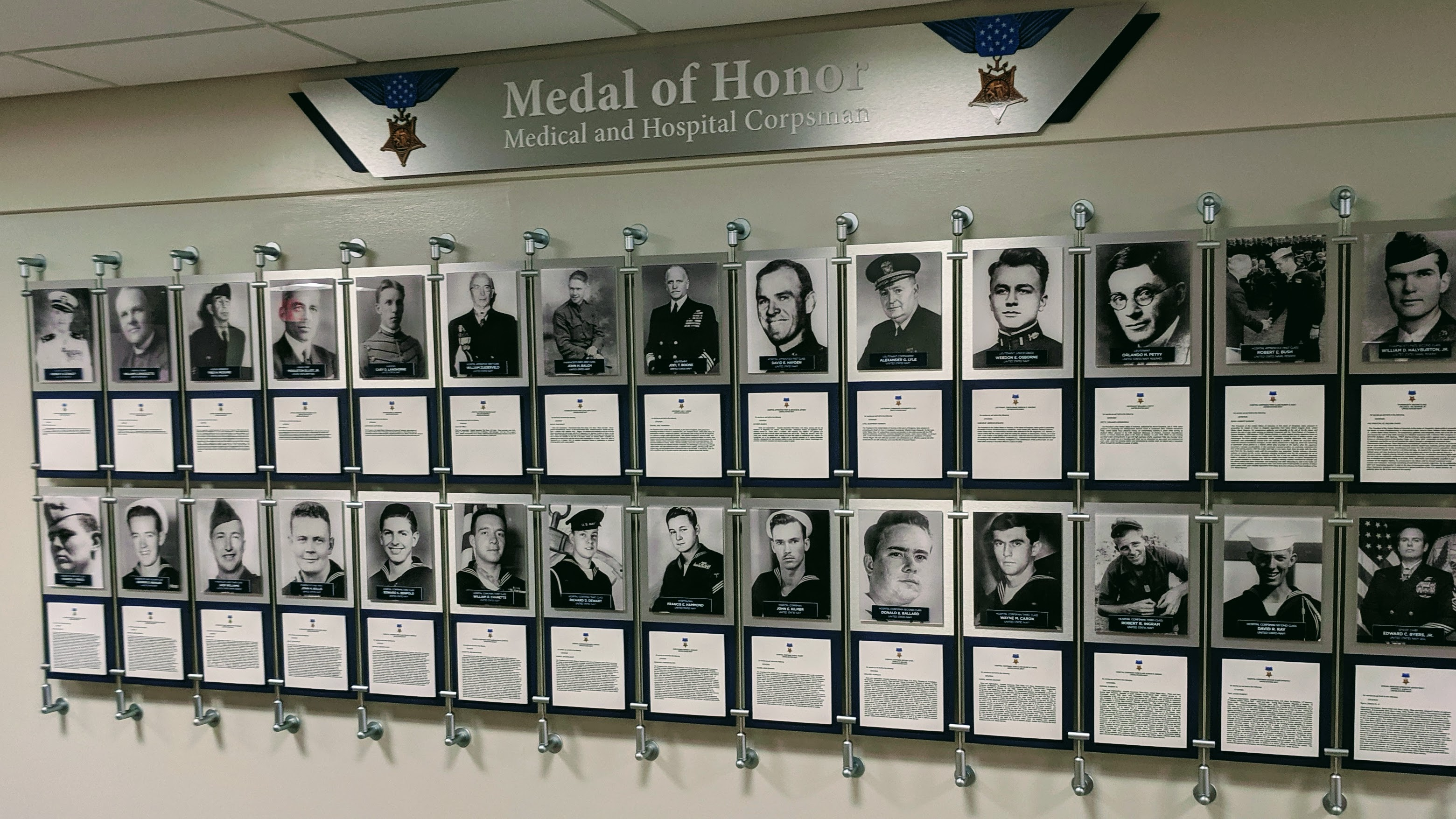 signgeek Corporate and Employee Recognition - Medal of Honor Wall Display for Naval Hospital Pensacola