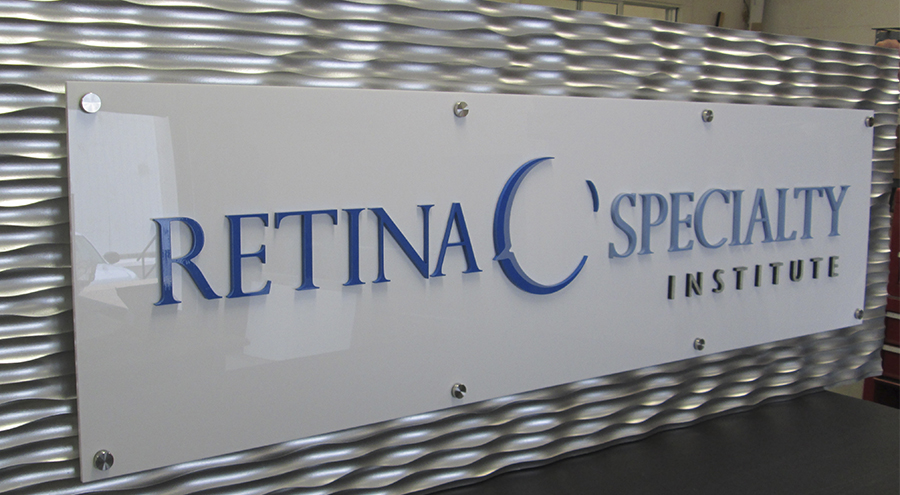 silver wave design retina specialty institute sign medical sign lobby stand offs
