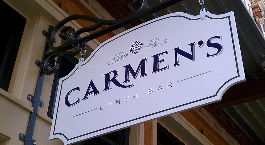Carmen's lunch bar corporate identity signs hanging metal vintage inspired
