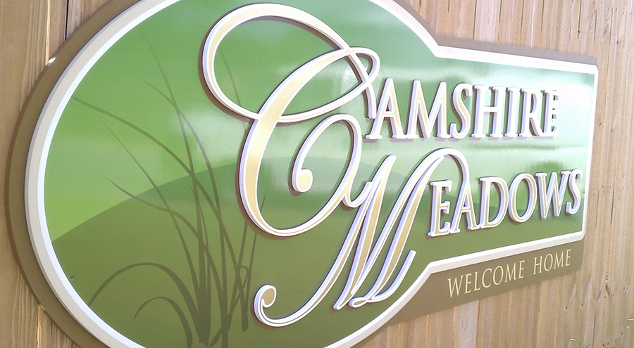 neighborhood identity sign for camshire meadows