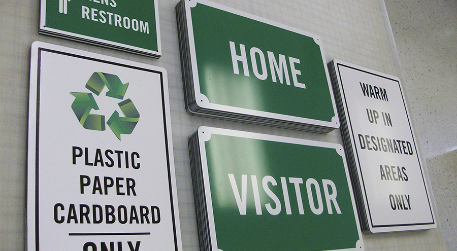 Informational, Safety and Utility Signs for community ballpark