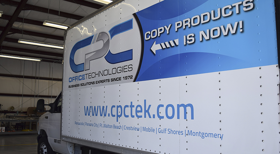 Copy products office technologies box truck graphic