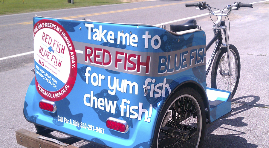 Pedi cab wrap for Red Fish Blue Fish restaurant Pensacola Beach Florida