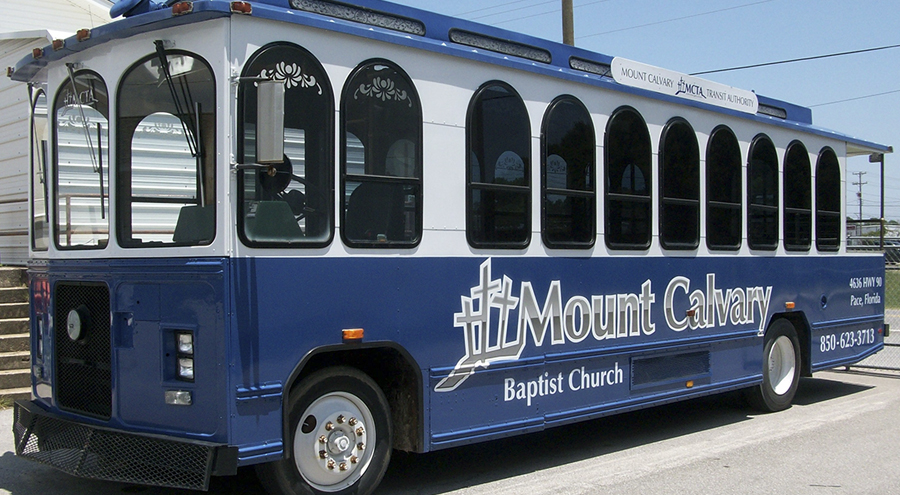 Trolley bus graphic for Mount Calvary