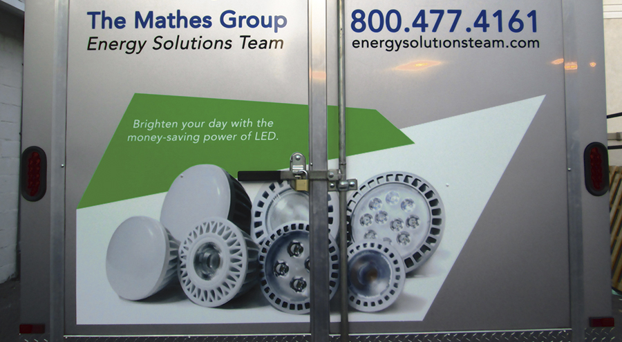 Vinyl vehicle graphics for The Mathes Group Pensacola Florida branded trailer